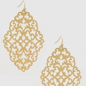 Boutique Large Filigree Ornate Gold Earrings